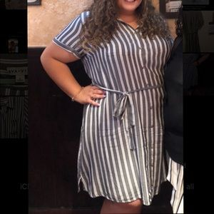 Vertical striped grey and white dress with pockets